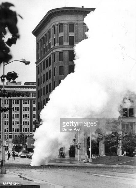 Steam rises from ruptured sewer line Two policemen on duty to direct traffic saw steam rise from a ruptured line on Arapahoe Street between 15th and...