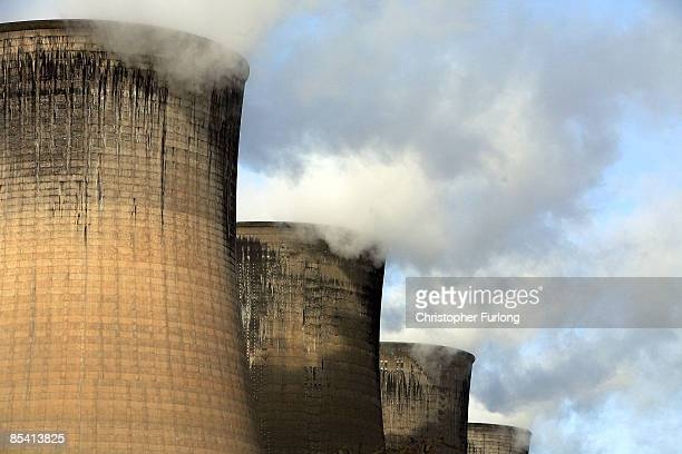 Steam rises from the cooling towers of the 2000MW flexible coal Eggborough electricity power station on March 13 2009 near Selby England Many UK...