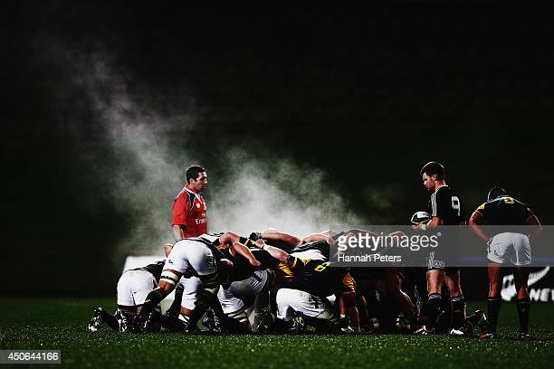 Steam rises from the scrum during the 2014 Junior World Championship Semi Final match between New Zealand and South Africa at North Harbour Stadium...