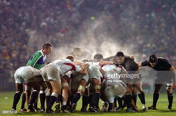 Steam rises from the scrum during the All Blacks v England rugby test played at Carisbrook Stadium in Dunedin New Zealand Saturday June 12th 2004 The...