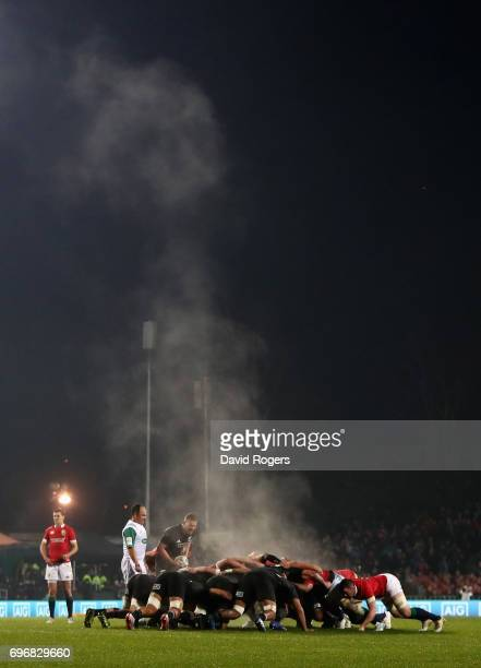 Steam rises from the scrum during the match between the New Zealand Maori and the British Irish Lions at Rotorua International Stadium on June 17...