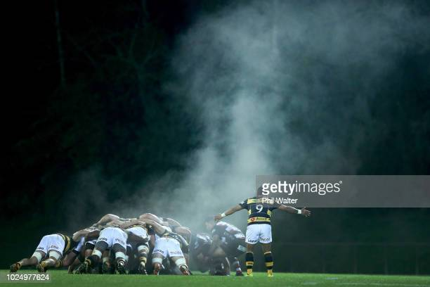 Steam rises from the scrum during the round three Mitre 10 Cup match between Counties Manukau and Taranaki at ECOLight Stadium on August 29 2018 in...