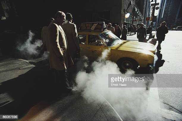 Steam rises from the sidewalk in New York City February 1980
