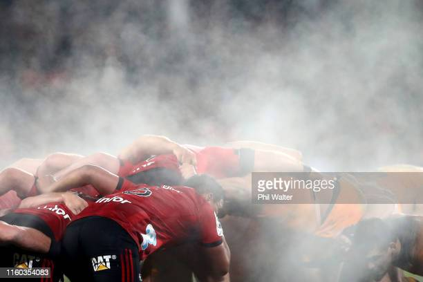 Steam rises off the players as they pack a scrum during the Super Rugby Final between the Crusaders and the Jaguares at Orangetheory Stadium on July...