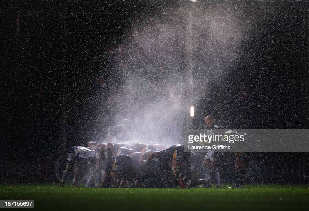 Steam rises off the scrum as the rain pours down during the Aviva Premiership match between Worcester Warriors and Bath at Sixways Stadium on...