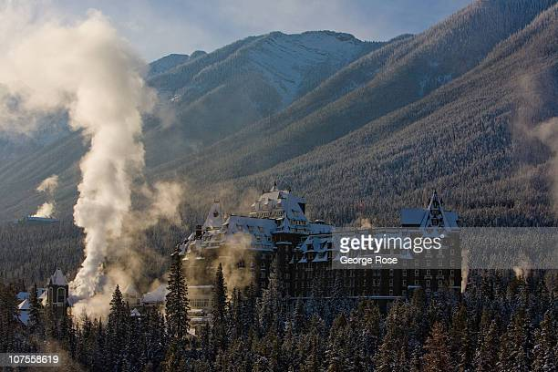 Steam rises outside the Fairmont Banff Springs Hotel on November 22 2010 in Banff Springs Canada The famed hotel built by the Canadian Railroad in...