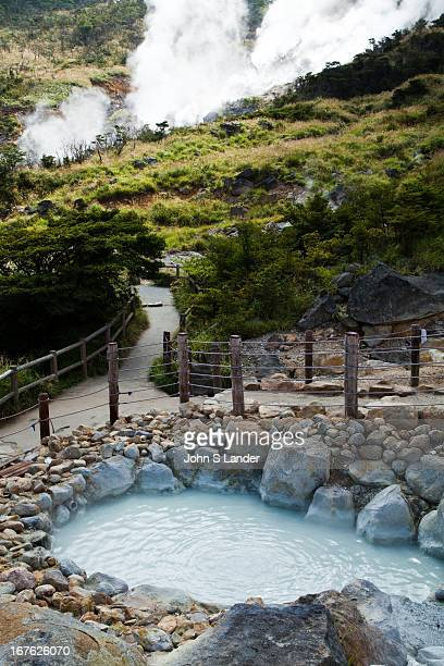 Steam rising from vapours at one of the hells of Japan Owakudani at Hakone National Park The source of much of the hot water action in Hakone the...