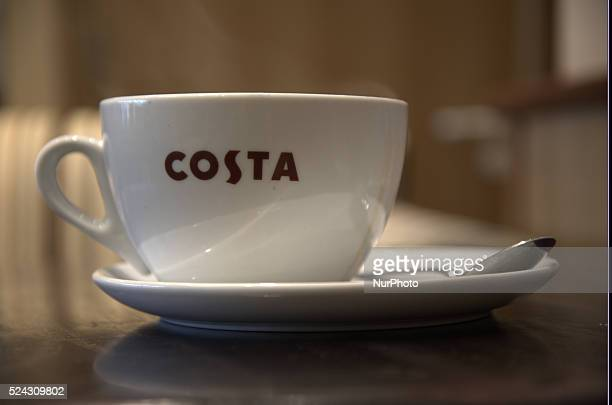 Steam rising out of a full Costa Coffee cup on Monday 2nd March 2015