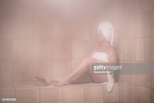 steam room - fat women in bath stock pictures, royalty-free photos & images