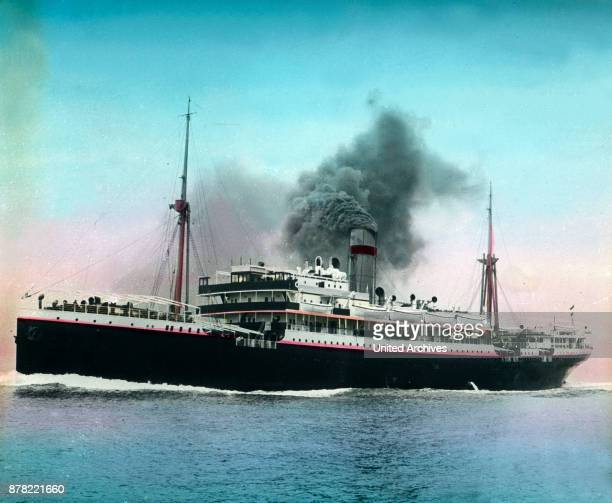A steam ship on the Mediterranean line between Marseille France and Oran Algeria 1920s