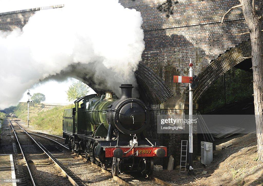 Steam Train at Cheltenham Racecourse : Stock Photo