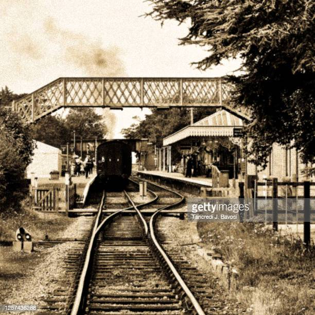 steam train at sheringham railway station - bavosi stock pictures, royalty-free photos & images