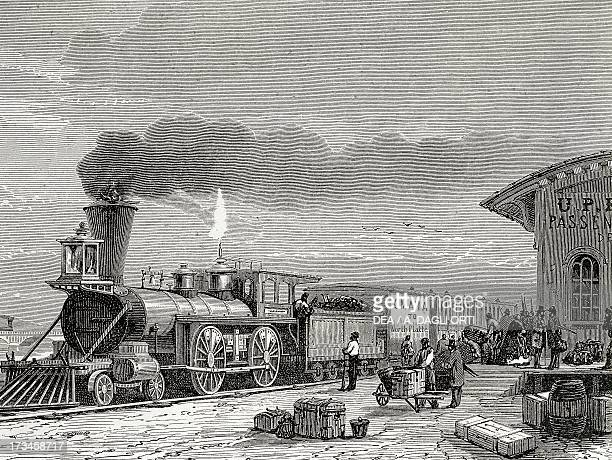 Steam train at the train station in Omaha engraving United States 19th century Venice Biblioteca Nazionale Marciana