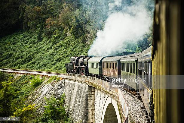Steam train composition on railway journey