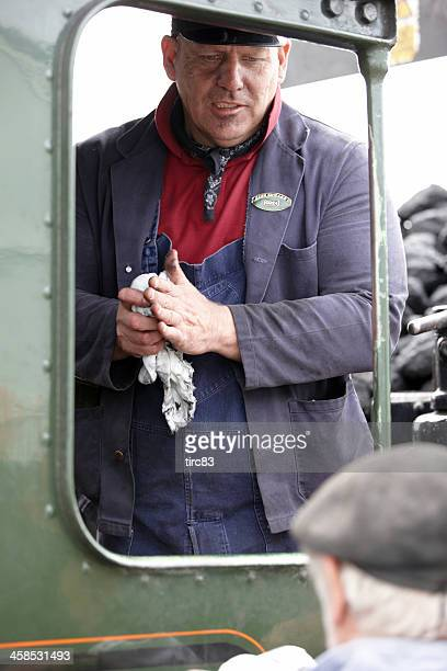 Zug mit Dampflokomotive Fahrer an Bord footplate King Edward I.