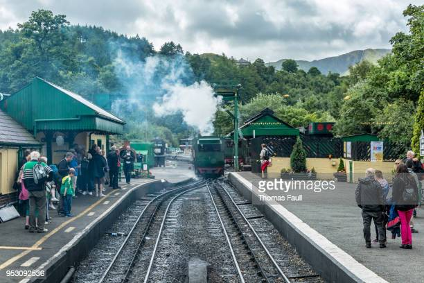 steam train enters the lower station at mount snowdon in wales - mount snowdon stock photos and pictures