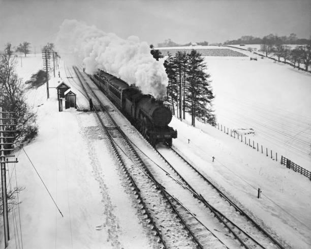Steam Train In Snow