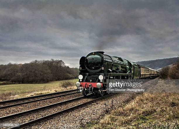 steam train in surrey - locomotive stock photos and pictures