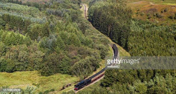 steam train navigating a valley - north stock pictures, royalty-free photos & images