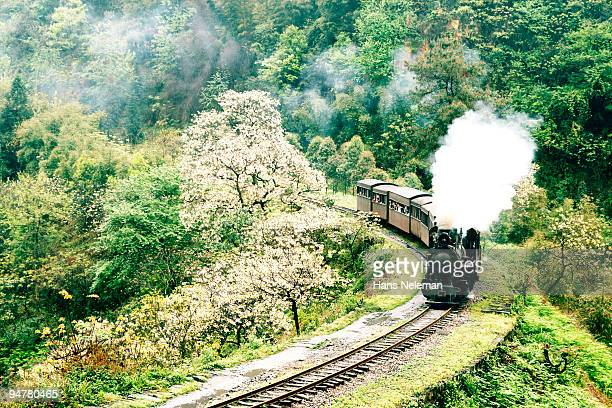steam train on a railroad track, leshan, sichuan province, china - hans neleman ストックフォトと画像