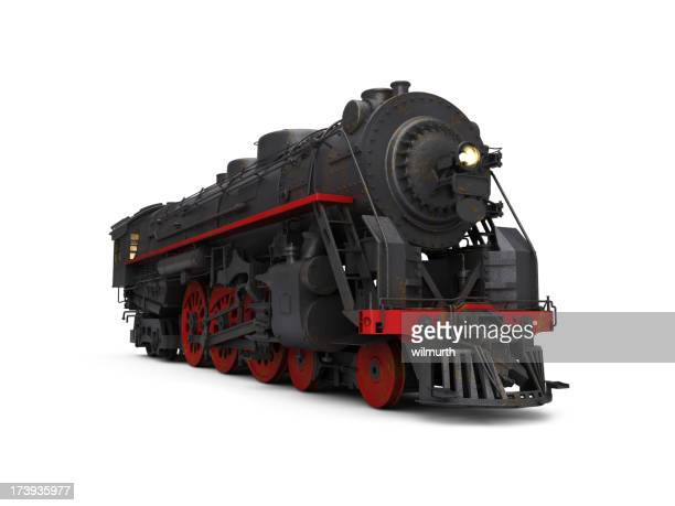 A steam train on a white background