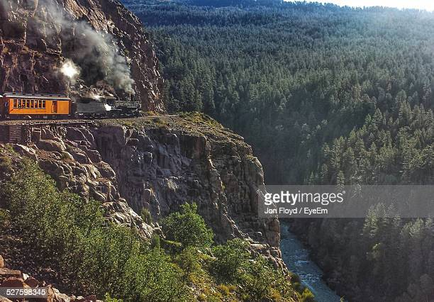 Steam Train On Mountain By Forest
