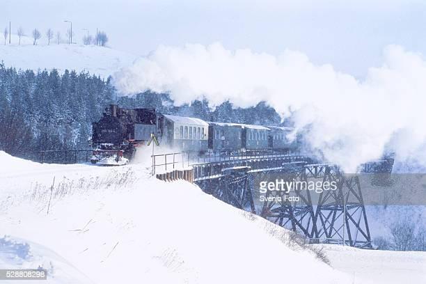 Steam train on railway bridge, Saxony, Germany, Winter