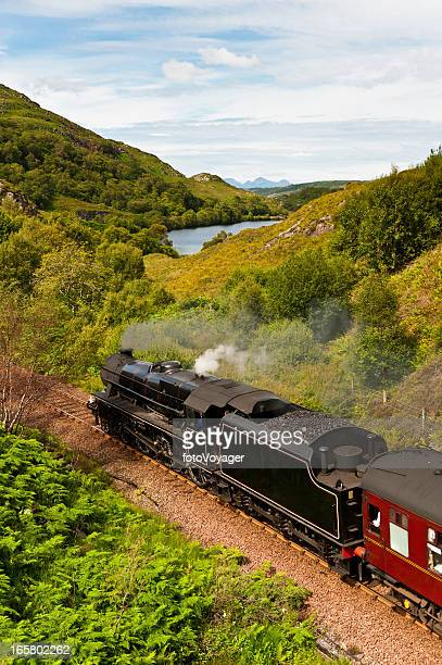 steam train rushing through idyllic highland mountain glen - mallaig stock photos and pictures