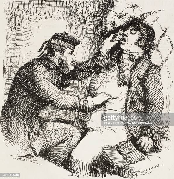 thief drugging a traveller with chloroform in order to rob him illustration by Ledrad from the Journal pour rire Journal Amusant No 189 August 13 1859