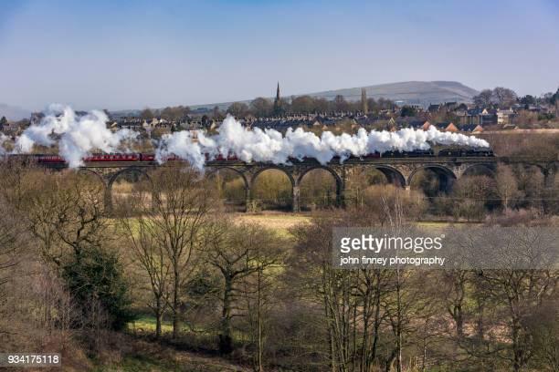 Steam trains powers across New Mills viaduct, High Peak, Derbyshire