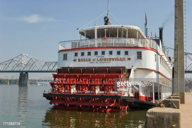 Steamboat at Louisville, KY, Old Paddlewheel Riverboat, Ohio River