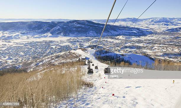 steamboat, colorado ski resort and town - steamboat springs colorado stock photos and pictures