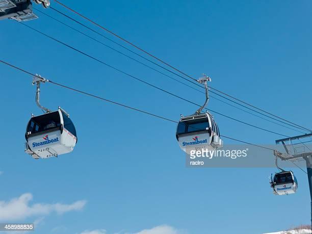 steamboat, colorado ski resort gondola - steamboat springs colorado stock photos and pictures