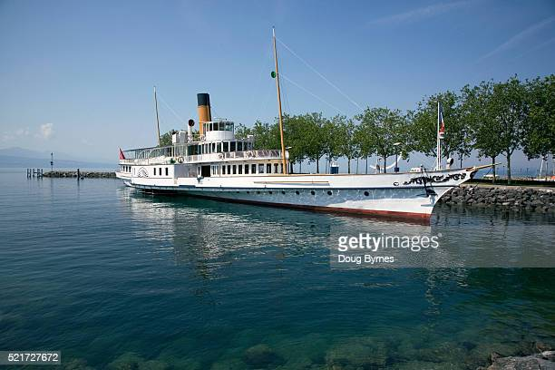 steamboat on lake geneva - lausanne stock pictures, royalty-free photos & images