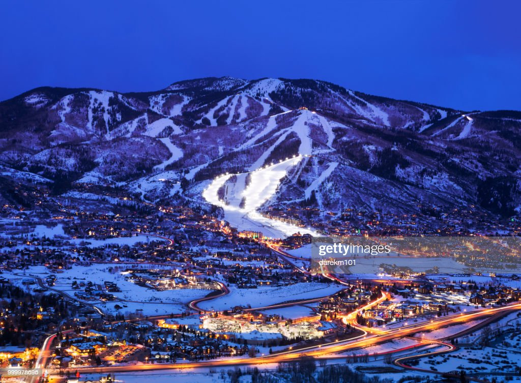 Steamboat Springs at dusk, Colorado, America, USA : Stock Photo
