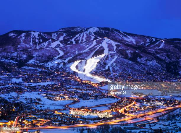 steamboat springs at dusk, colorado, america, usa - steamboat springs colorado - fotografias e filmes do acervo