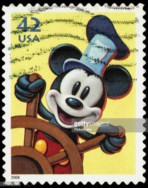 usa steamboat willie's mickey mouse sello postal - mickey mouse fotografías e imágenes de stock