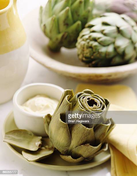 Steamed artichoke with mayonnaise