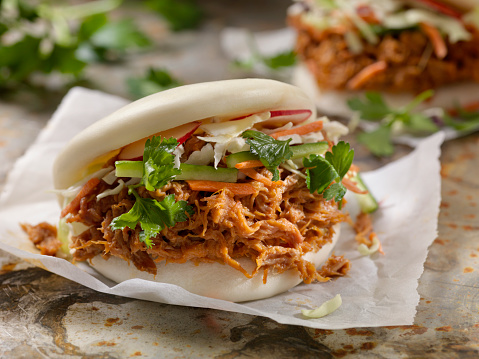 Steamed Bao Buns with Pulled Pork 1094517894
