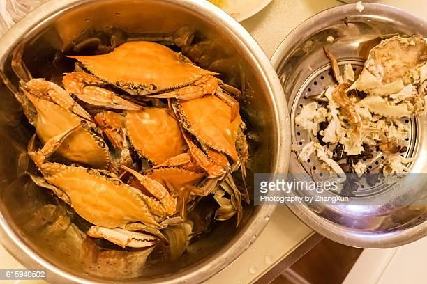 Steamed blue crabs at home, in Qindao, shandong, China.
