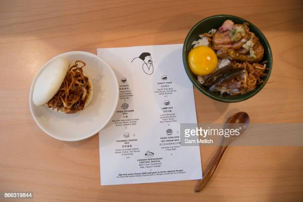 Steamed Bun Egg rice and a menu at Boa Japanese restaurant on 2nd November 2015 in London United Kingdom