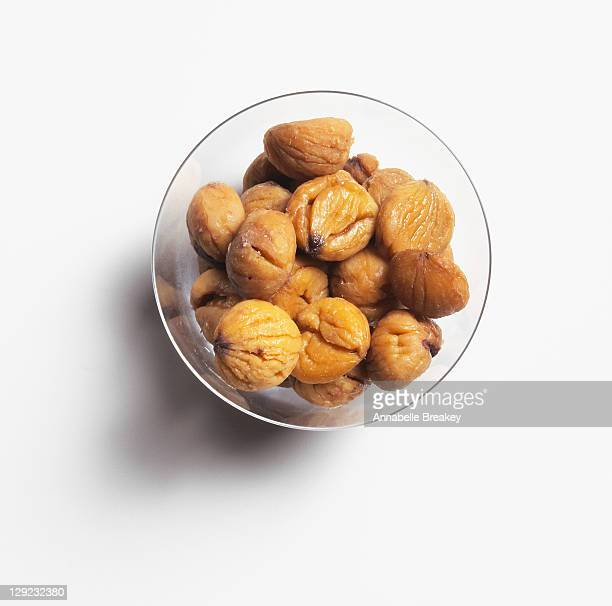 Steamed chestnuts, peeled
