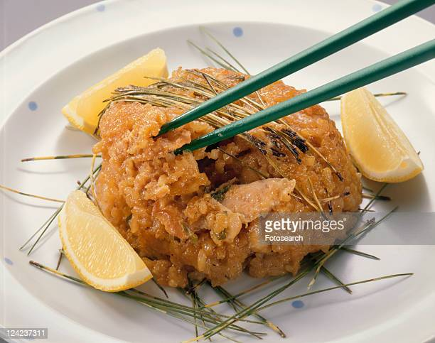 Steamed Chicken And Glutinous Rice With Pine Leaf