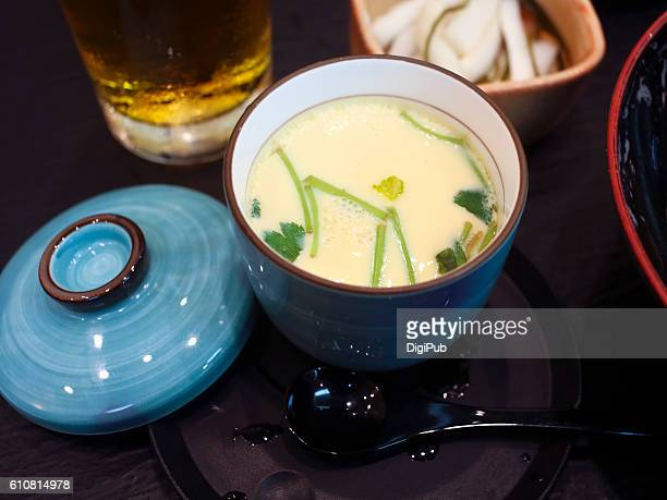 steamed chicken's egg - chawanmushi stock pictures, royalty-free photos & images