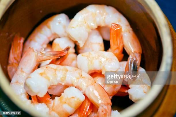 steamed peeled shrimps close-up - 剥いた ストックフォトと画像