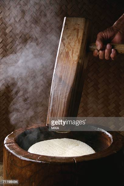 Steamed rice in mortar