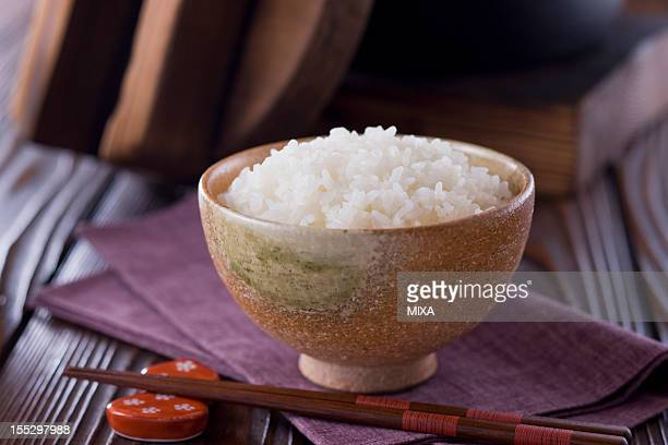 Steamed Rice in Rice Bowl
