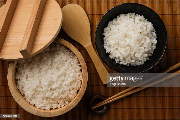 Steamed Rice Served  the rice tub and bowl