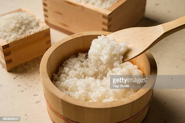 Steamed Rice Served the rice tub