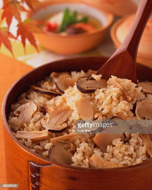 Steamed rice with matsutake mushrooms